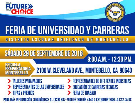 Flyer for College and Career Readiness Fair Spanish